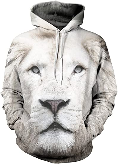 Beloved Shirts White Lion Hoodie Premium All Over Print Graphic Hoodies
