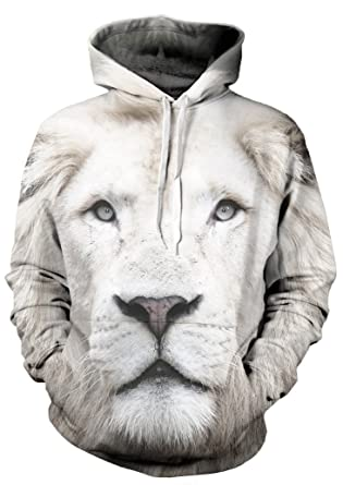 33467060f Beloved Shirts White Lion Hoodie - Premium All Over Print Graphic Hoodies -  Small