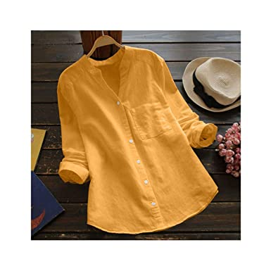 Camisa Casual de Manga Larga con Botones de algodón y Lino, Cuello ...