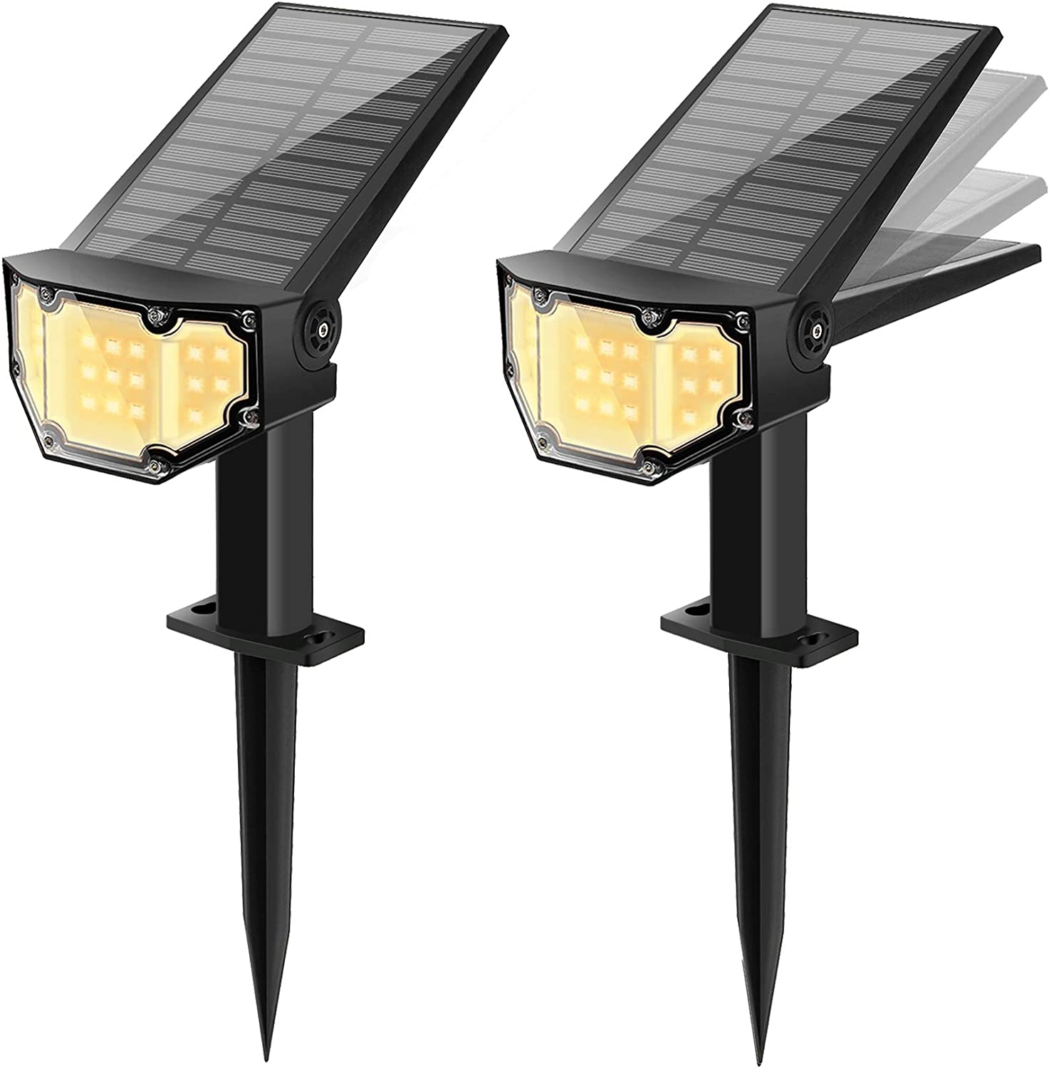 Otdair Solar Landscape Spotlights, 19 LED Solar Powered Lights Outdoor IP67 Pathway Lights Wireless, Bright Warm, 2 in 1 Wall Lights Yard Lights for Garden Driveway Porch Walkway Pool Patio 2Pcs