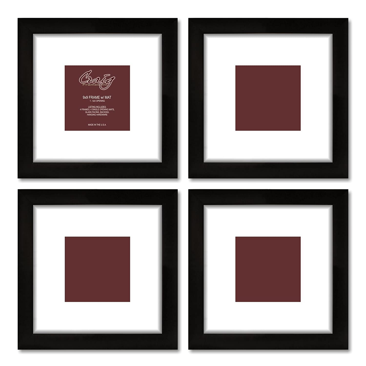 Amazon craig frames 1wb3bk 9 by 9 inch black picture frame amazon craig frames 1wb3bk 9 by 9 inch black picture frame white mat with 5 by 5 inch opening 4 piece set jeuxipadfo Image collections