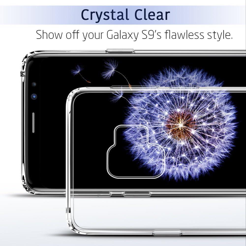 Herbests Compatible avec Samsung Galaxy S9 Plus Coque Crystal Clear Etui Silicone Peint Ultra Mince Souple TPU Transparente Housse T/él/éphones Portables S/érie de Fleurs Case Cover,Bleu Rose