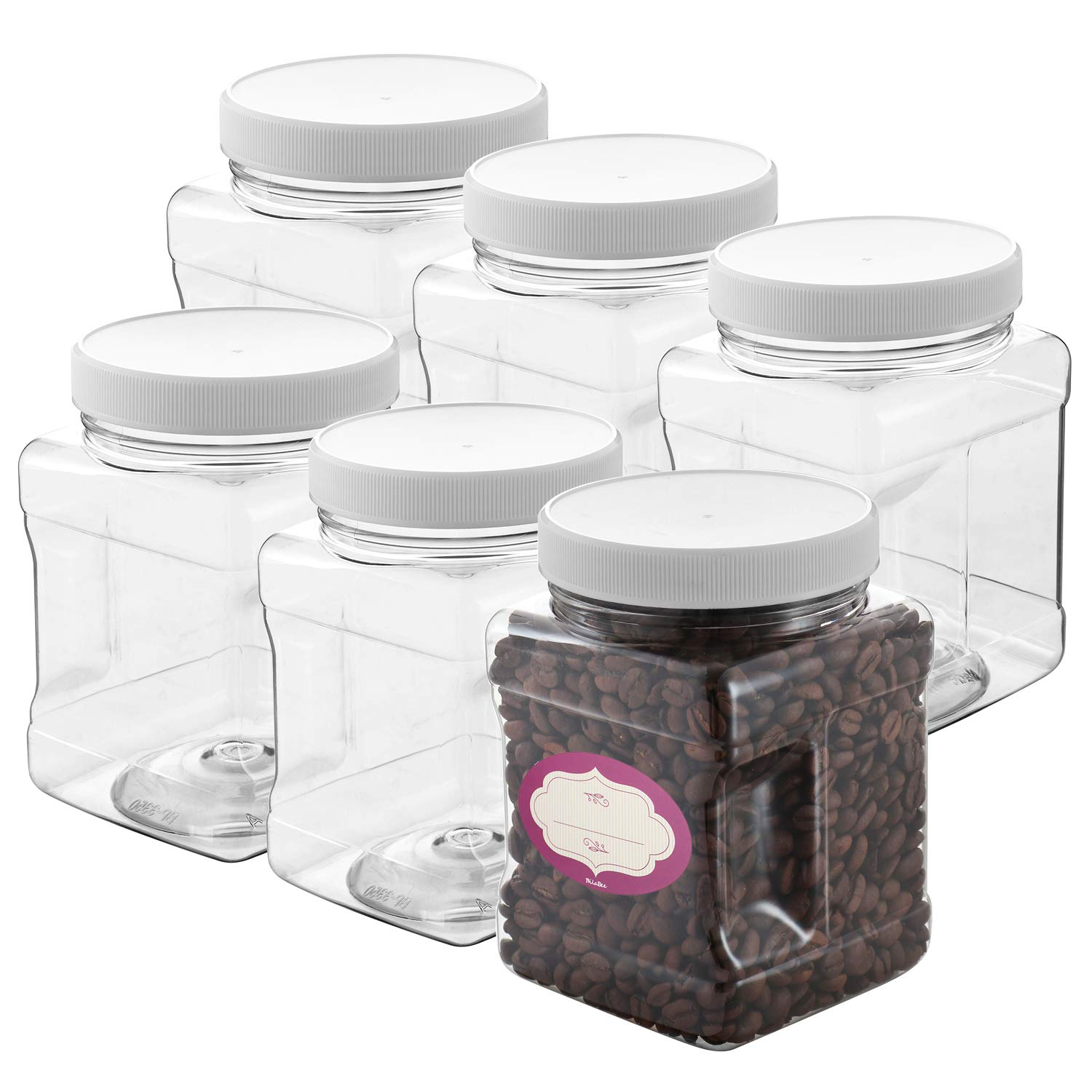 Clear Empty Plastic Storage containers with Lids - Square Plastic Containers - Plastic Jars with Lids – BPA Free Plastic Jar - Food Grade Air Tight with Easy Grip Handles (6 Pack 32 Oz)