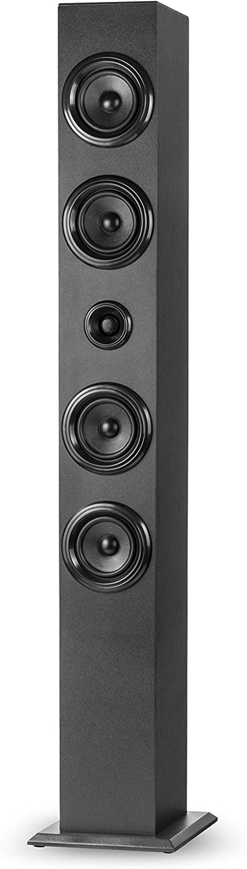 Elbe TW-402-BT Torre de Sonido Bluetooth + FM/SD/USB 40 w, mp3, USB, Radio FM autoscan, Mando a distancias, Bluetooth Compatible 4.0, 3.0, 2.1+EDR, Color Negro