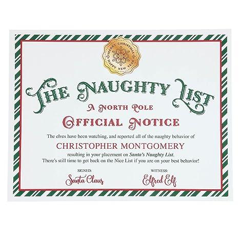 Amazon.com: Certificado de la lista de Papá Noel ...