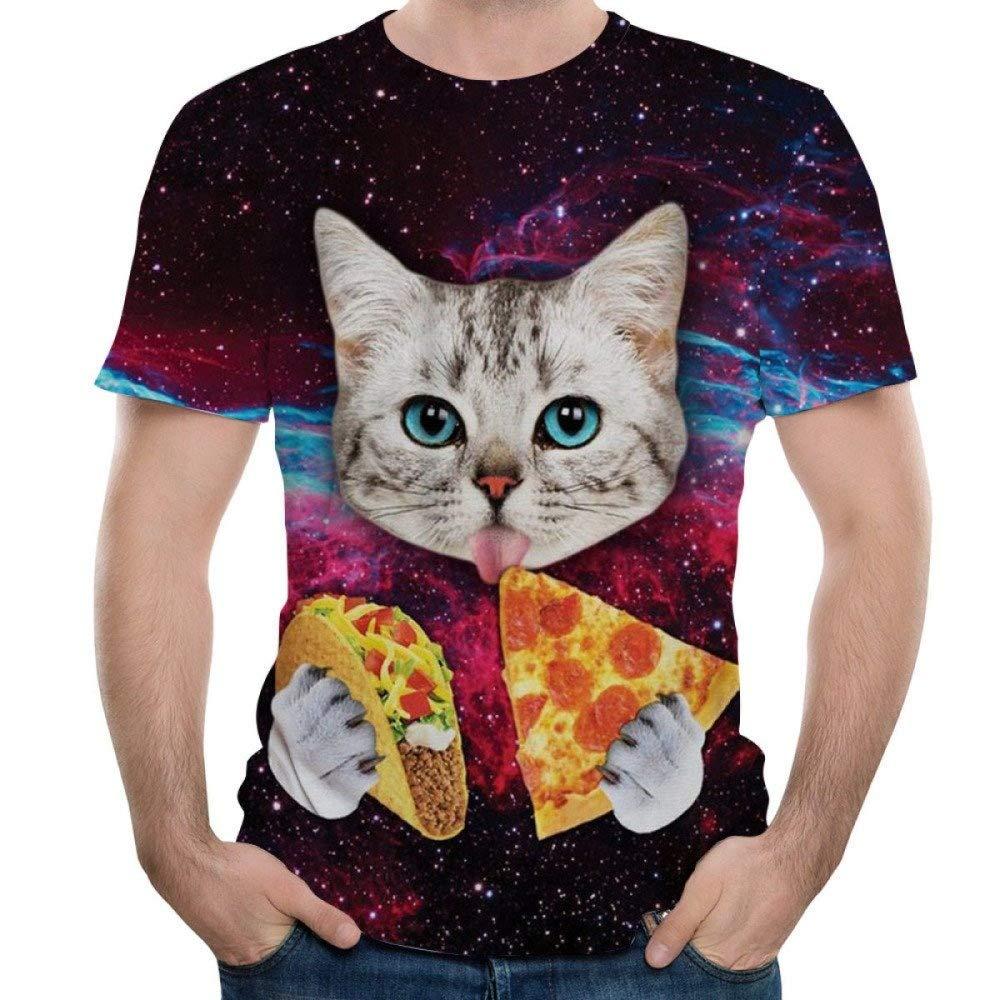 NANWUGAO 3D T-Shirts Casual Animal Graphics Crewneck Short Sleeve Cat Printed Tees Tops Short Sleeve Tees