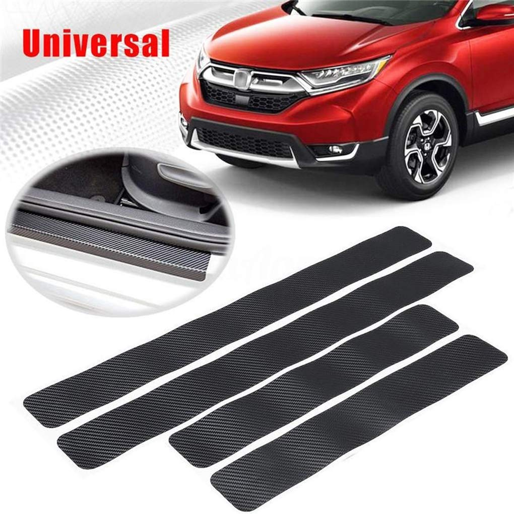 heacker 4PCS 3D Car Door Sill Anti Scuff Protective Pedal Protect Black Carbon Fiber Stickers Vehicle Accessories