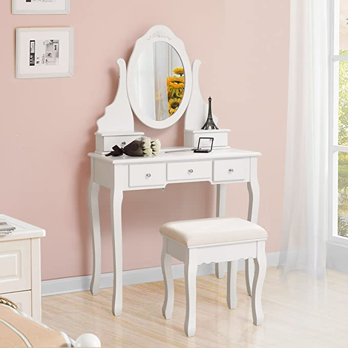 SONGMICS Vanity Set with Mirror and Stool Make-up Dressing Table 5 Drawers with 2 Dividers White URDT09W