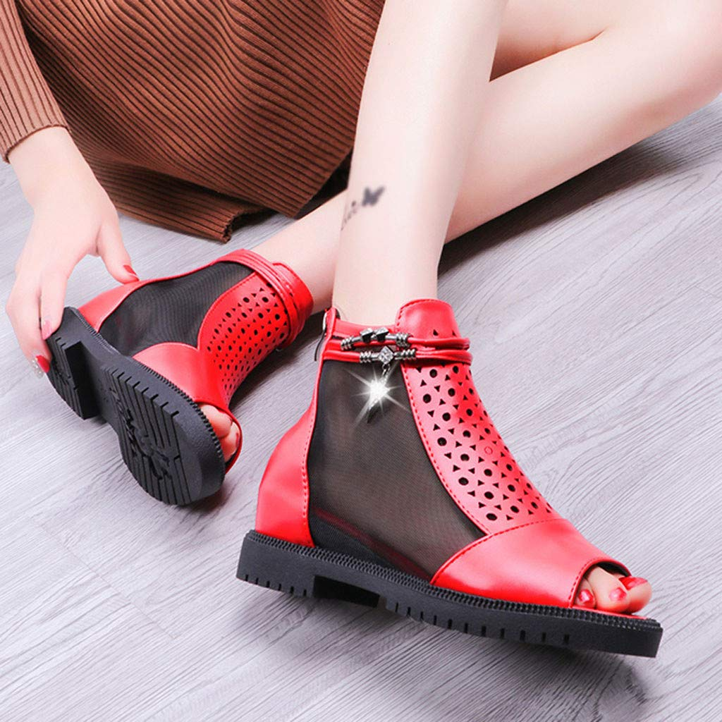 Women Outdoor Fish Mouth Flat Mesh Sports Shoes Breathable platform Sandals by LUXISDE (Image #4)