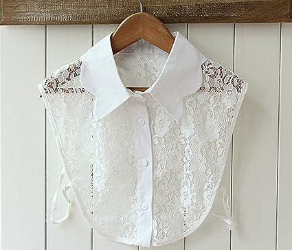 IPOTCH Encaje Blanco Media Camisa Falsa Blusas Cuello para ...