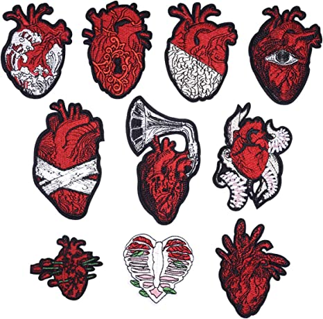 10PCS Embroidery Heart Patches Badge Fabric Sticker for Clothes Bag