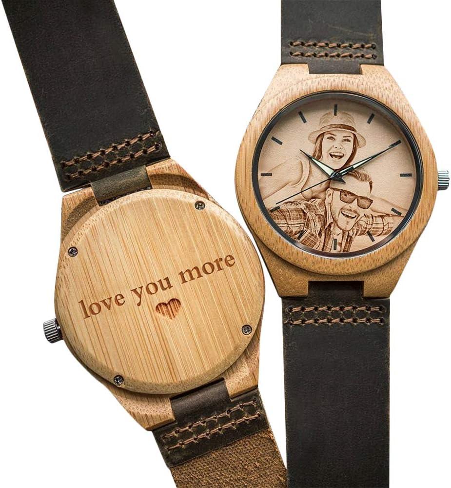 ejemplo de reloj de madera grabado personalizado