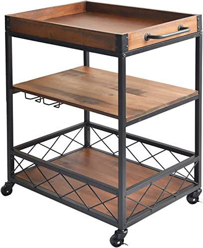 charaHOME Solid Wood Kitchen Serving Carts Rolling Bar Cart