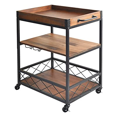 Buy Charahome Solid Wood Kitchen Serving Carts Rolling Bar Cart With 3 Tier Storage Shelves Kitchen Island Cart With Wine Glass Holder Handle Racks Lockable Caster Liquor Cart Removable Top Box Container Online In