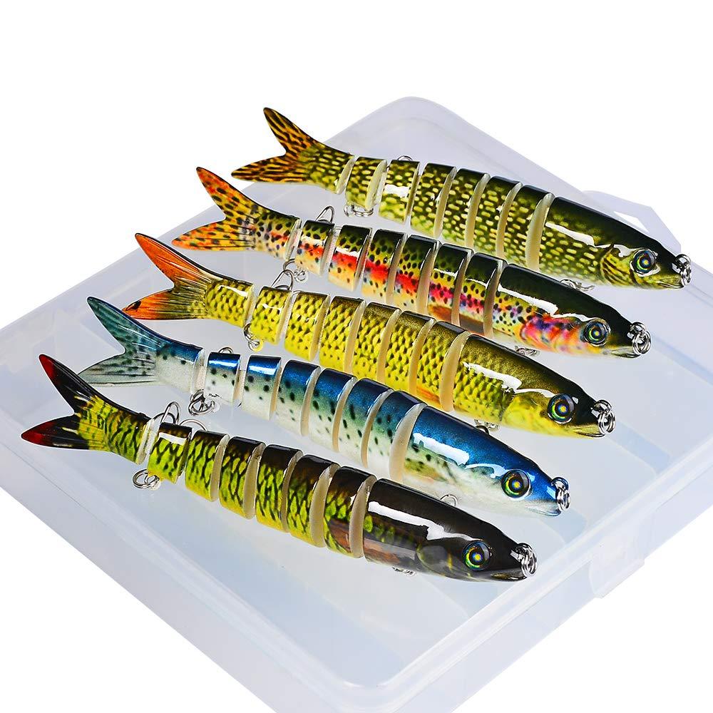 Sunlure Bass Fishing Lures Crankbaits Swimbaits Lure Artificial Bait Multi Jointed Lifelike Hard Baits Pike Muskie Shape Fish Tackle Kits with Box 5 pcs/Set