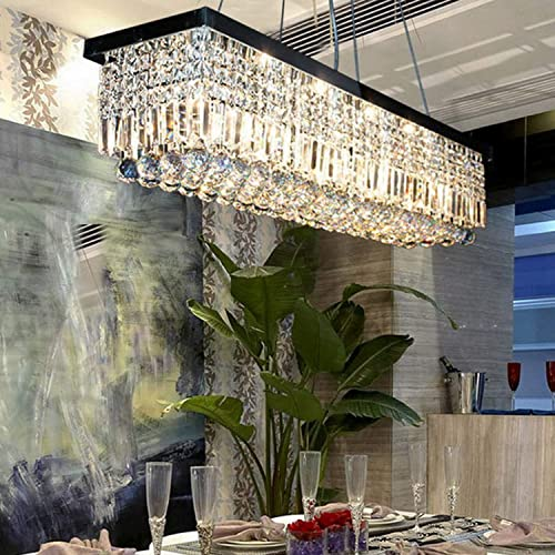 Moooni Rectangular Crystal Chandelier Modern Rectangle Raindrop Pendant Light Fixture for Dining Room Kitchen Island Black 10 Lights L47.3 x W9.8 x H9.8