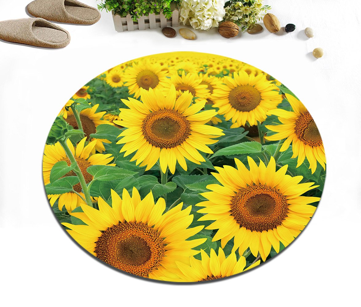 Pflanze Sonnenblume gelb grün Rutschfest maschinenwaschbar runde ...