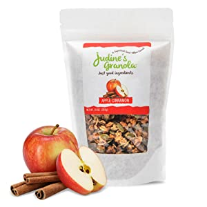 Just Judine - Healthy Whole Grain Granola with Coconut Flakes and Plant-Based Superfoods, Apple Cinnamon, 10oz