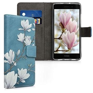 kwmobile Funda para Huawei P8 Lite (2015) - Carcasa de Cuero sintético con diseño de Magnolias - Case con Tarjetero