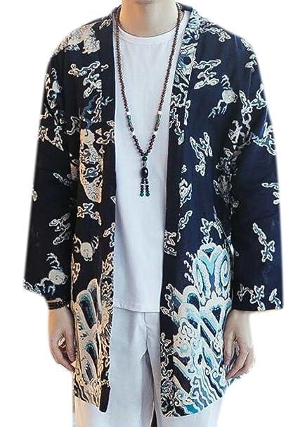 Amazon.com: kljr-men chaqueta de punto floral Lino Kimono ...