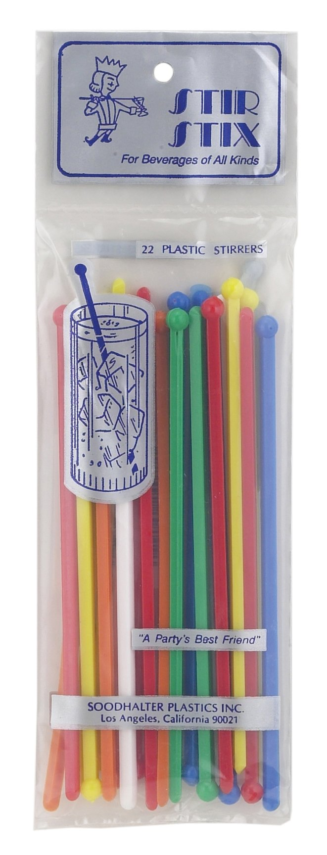 Soodhalter Stir Stix, Cocktail Swizzle Sticks, BPA-Free Plastic, Assorted Colors, 6-Inches, Set of 22