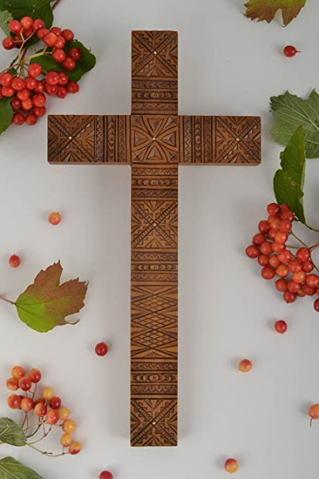 Amazon com: Wall Cross Handcrafted Wooden Cross Church