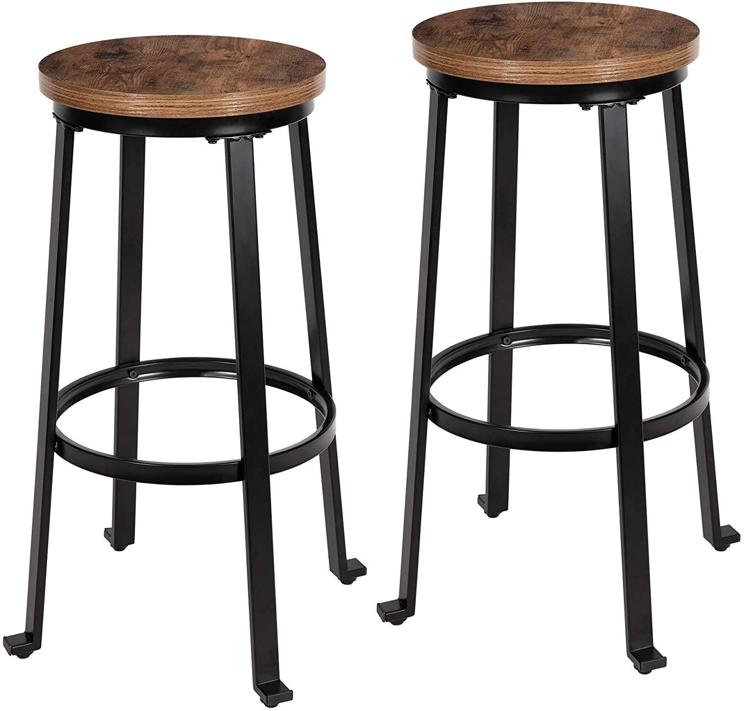 "KOZYSPHERE Bar Stools - 29"" Pub Height Chairs with Metal Frame - Backless Barstools - Set of 2 - Rustic Brown"
