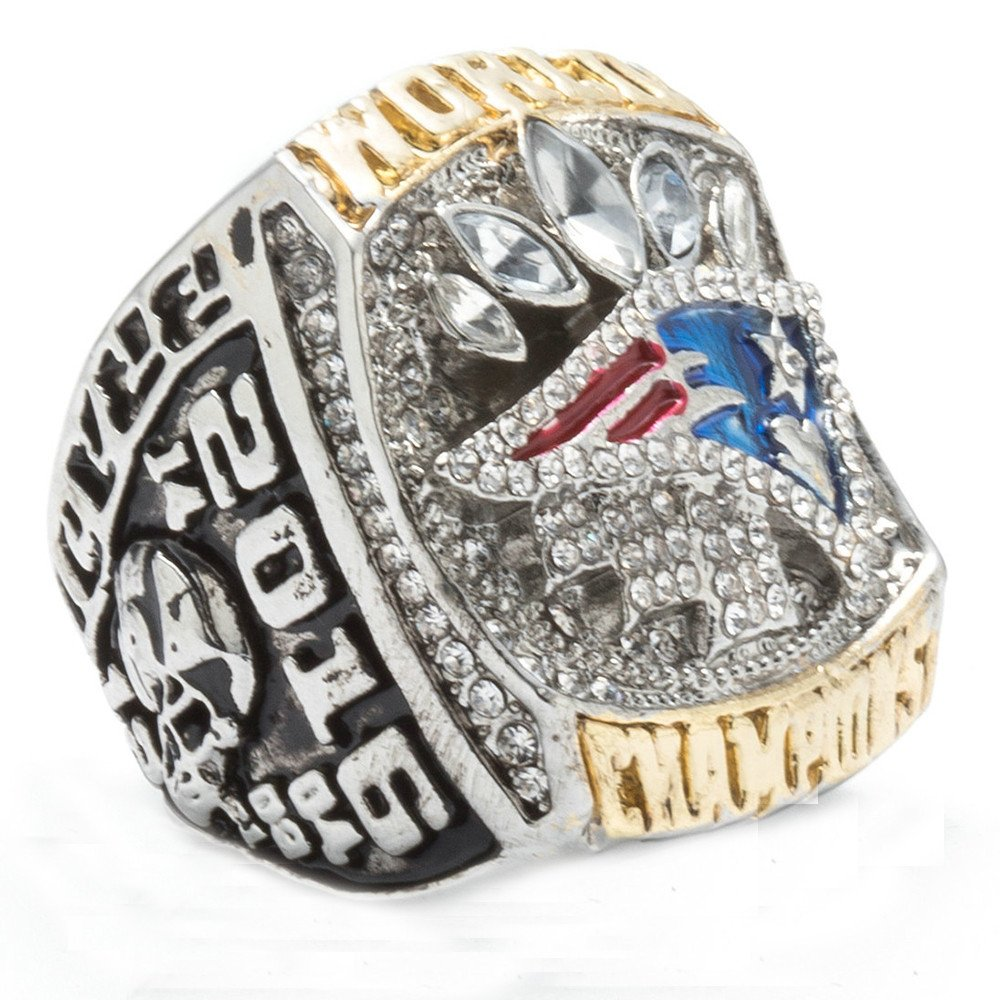 LANCHENEL Titanium Steel Mens 2016 New England Patriots Championship Rings,Size 10