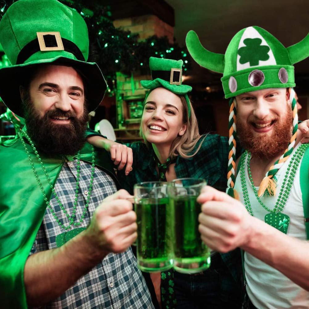 Koogel St Patricks Day Hat Shamrock Hat Novelty Fancy Dress Costume Irish Themed Party Accessory