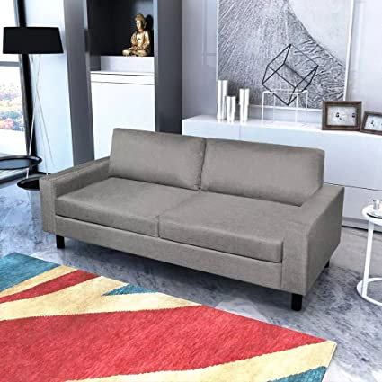 Amazon.com: Festnight 3-Seater Fabric Sofa Couch With Wooden Frame Armrest Upholstered Sofa Thickly Padded Cushions Sofa Grey Home Waiting Room Office Furniture: Sports & Outdoors