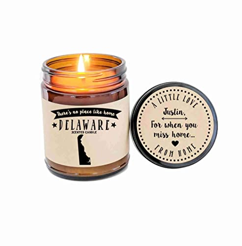 Delaware State Soy Candle in Large Luxe Gold Tin Delaware Scented Candle Wedding Favor Candle Housewarming Gift Moving Gift
