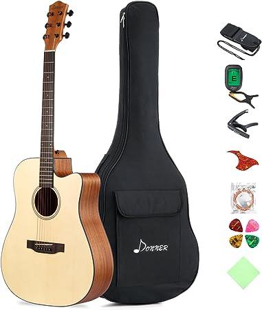 Donner DAG-1C Guitarra Acústica con Cutaway 41 Pulgadas Cuerpo de ...
