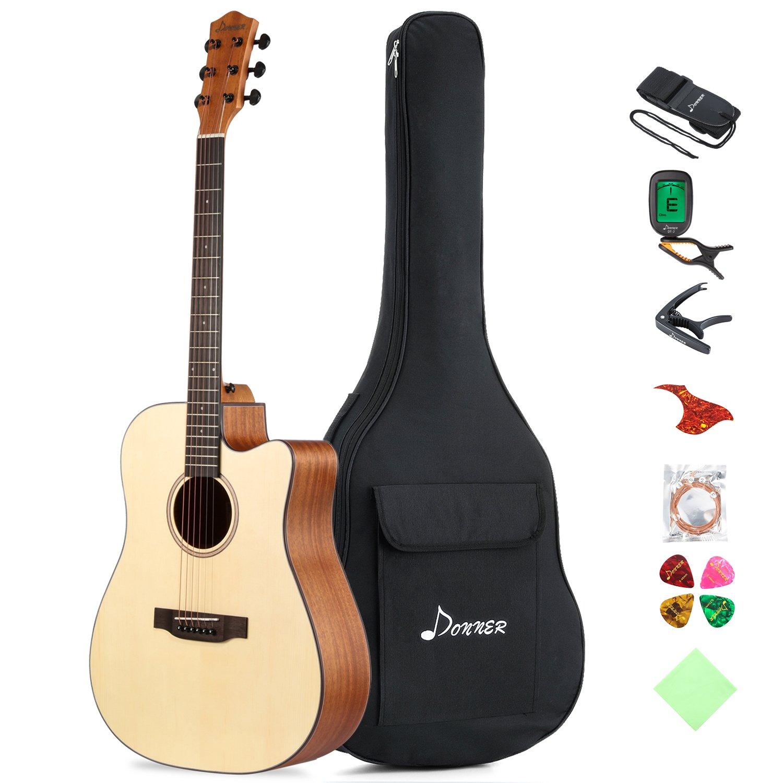 Donner DAG-1C Beginner Acoustic Guitar Full Size, 41'' Cutaway Guitar Bundle with Gig Bag Tuner Capo Picks Strap String by Donner