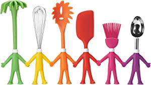 kitchen utensils - best kitchen gadgets- 6 Cute Colorful cooking utensil set in Human Shapes - Nonstick Silicone cookware - Real tools for kids and adults