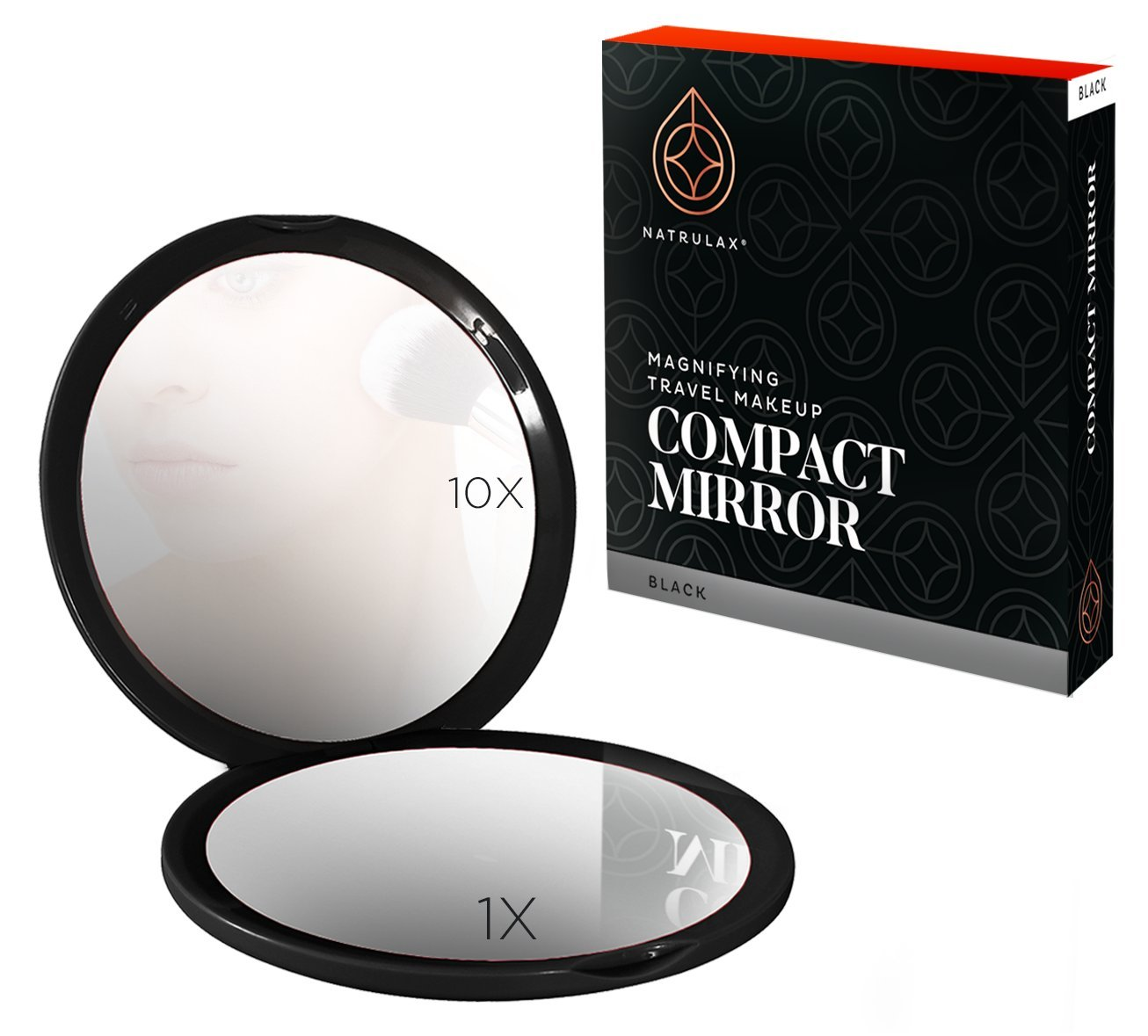 NATRULAX Superior Quality Dual Sided 10 x 1 x Magnifying Compact Mirrors – 4 Inch Diameter-Ideal For Makeup Eyebrow Removal -Perfect For Purses Travel – Excellent Gift.