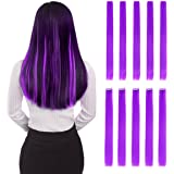 """Colored Clip in Hair Extensions 22"""" 10pcs Straight Fashion Hairpieces for Party Highlights Purple"""