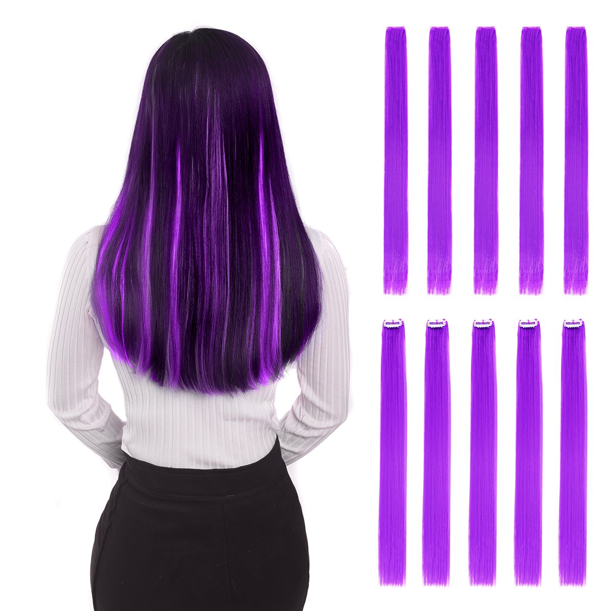 Colored Clip in Hair Extensions 22 10pcs Straight Fashion Hairpieces for Party Highlights Purple BHF