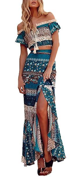 Mujer Conjuntos De Crop Top Y Falda Dos Piezas Elegantes Vintage Boho Impresión Floral Casual Vacaciones