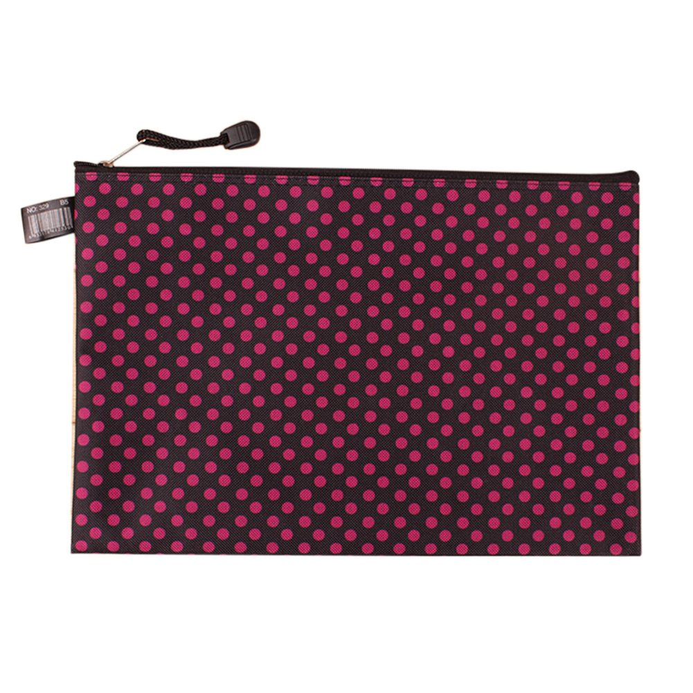 2 PCS Stylish Canvas Document File Pocket A4 File Storage With Zipper Black/Pink by Kylin Express (Image #1)