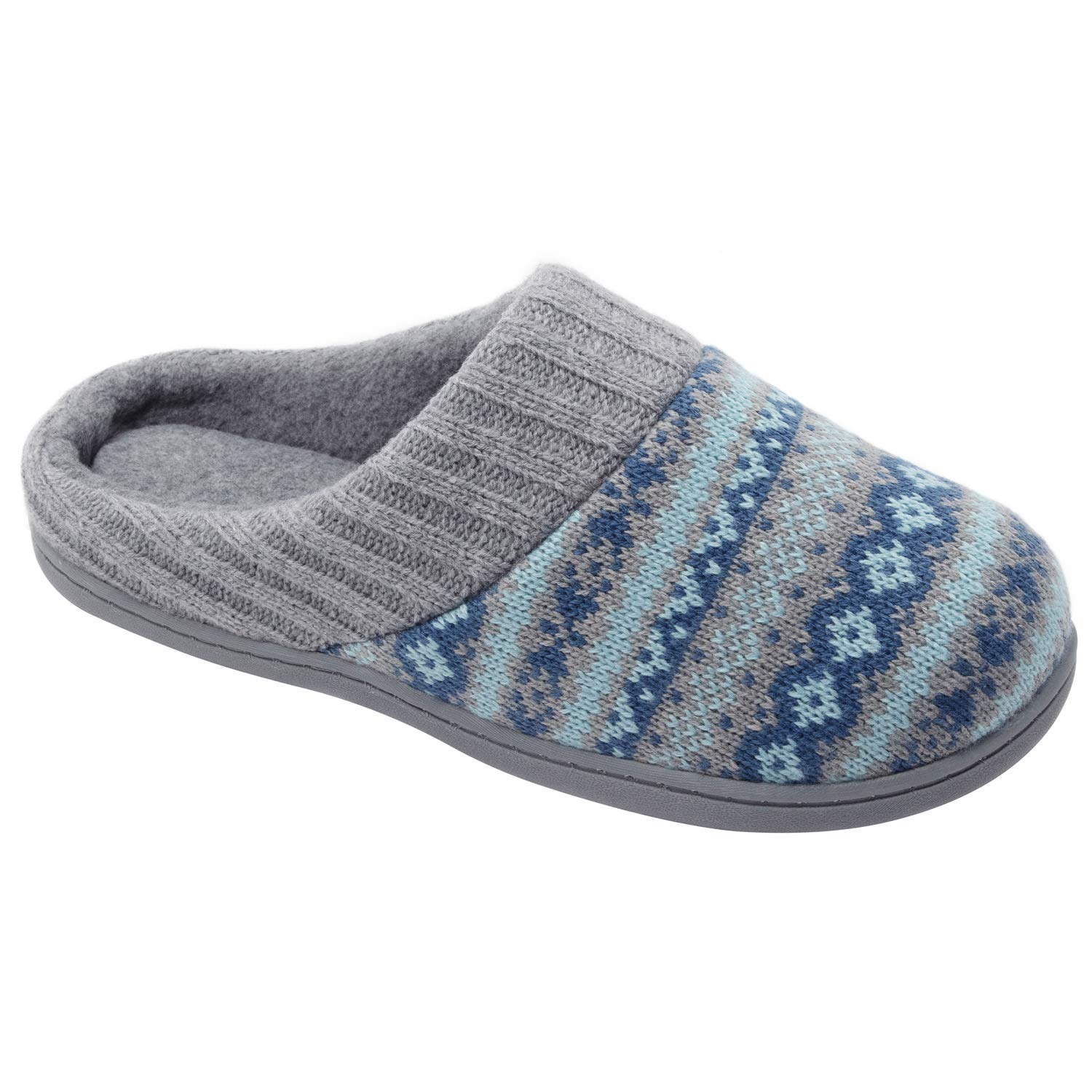 RockDove Sweater Knit Scuff Slippers for Women (9-10 B(M) US, Teal Blue)