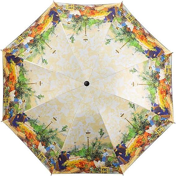 Comeyang Mini sombrilla, Paraguas de Viaje portátil, protección UV, Actividades al Aire Libre,Paraguas Transparente Plegable Triple Protector Solar color8 99cm: Amazon.es: Hogar