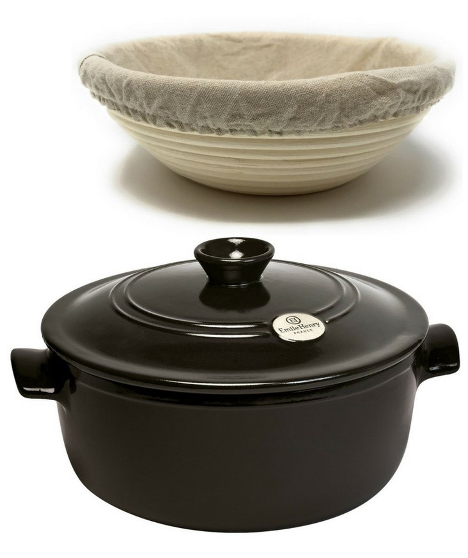 3-Piece Set: Ceramic Round Stewpot Dutch Oven Bread Pot, Charcoal, 8 inch Round Banneton Bread Rising Basket, Fitted Cotton Liner - Bundle