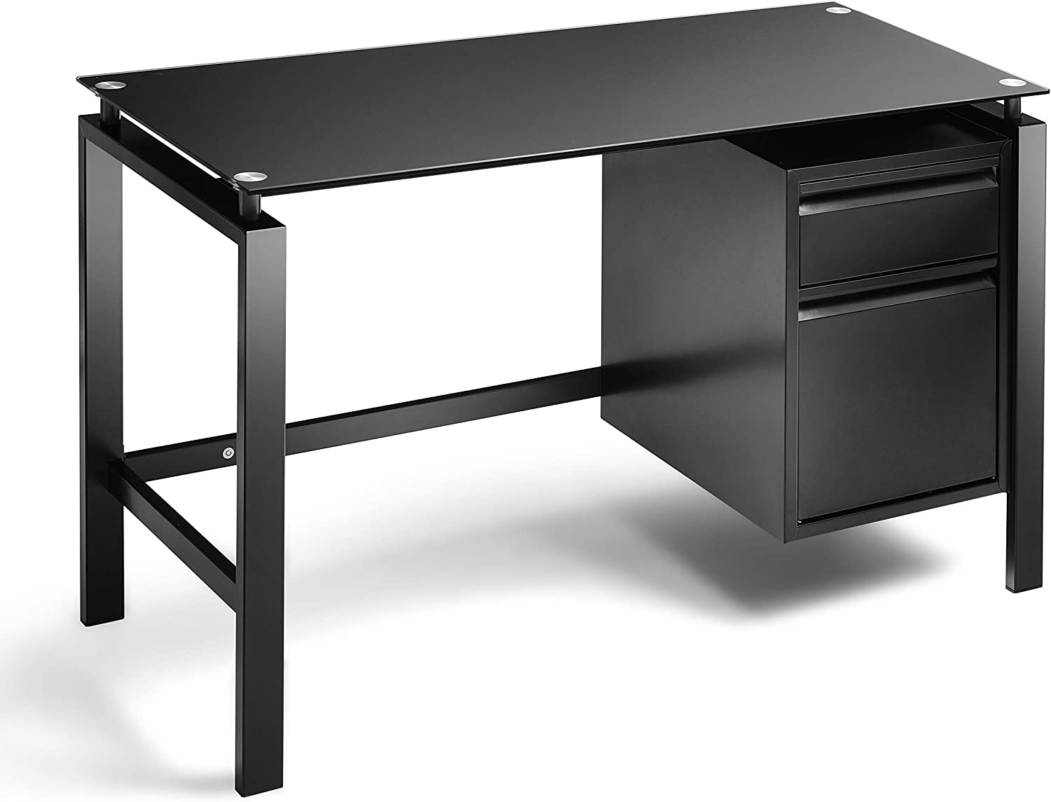 Black Computer Office Desk Writing Desk with Premium Tempered Glass Top 2 Drawers Workstation Desk 46 Inch