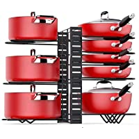 Pot Rack Organizers, H HOME-MART 8 Tiers Pots and Pans Organizer, Adjustable Pot Lid Holders & Pan Rack for Kitchen…