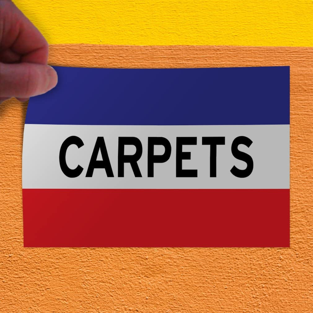 Set of 5 27inx18in Decal Sticker Multiple Sizes Carpets red White Business Carpet Outdoor Store Sign Red