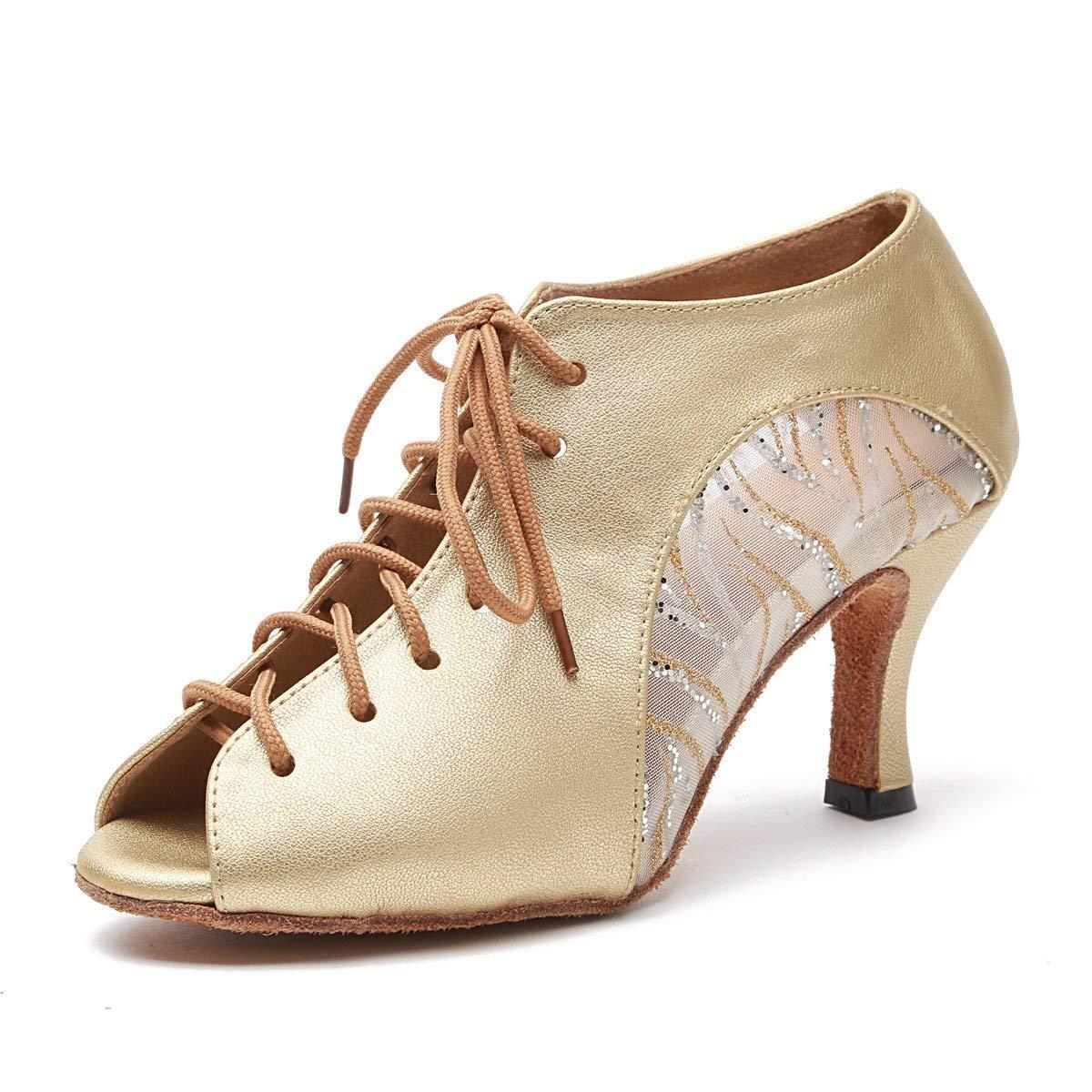Qiusa Frauen Lace-up Gold Mesh Leder Latin Dancing Schuhe Ankle Sandalen UK 6.5 (Farbe   - Größe   -)