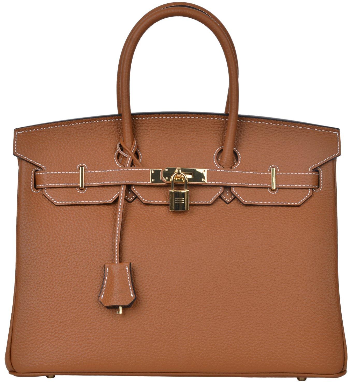 Cherish Kiss Women's Classic Genuine Leather Tote Padlock Handbags (30CM, Brown with Stitched White) by Cherish Kiss
