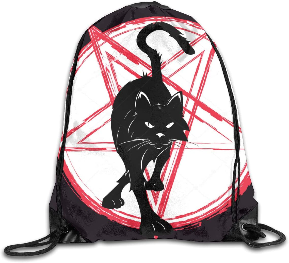 Pentagram Cat Wiccan Special Drawstring Bag Stylish Cute Print Lightweight Sackpack Sport Gym Bundle Backpack Theme Novelty Outdoor Classic