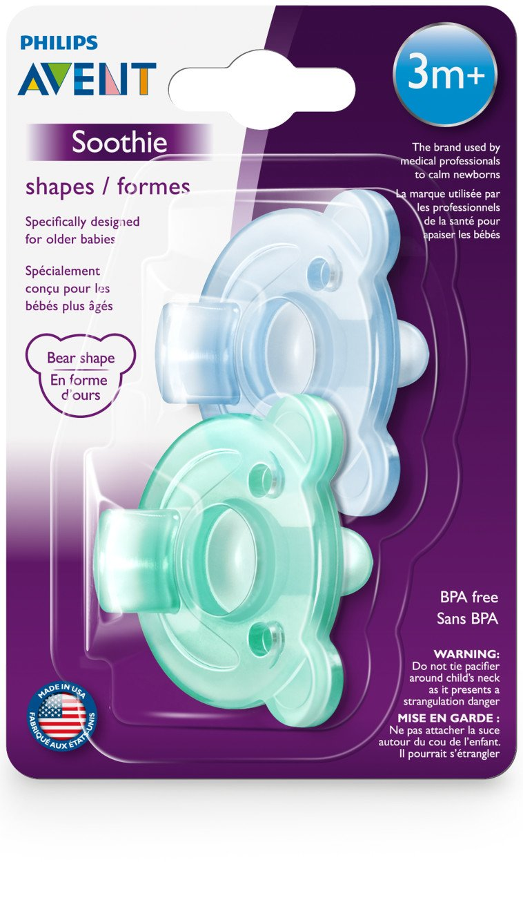 Philips Avent Soothie Pacifier 2 pack SCF194//04 3+ months Bear Shape Green//Blue