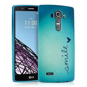 kwmobile Funda para LG G4 - Carcasa de [TPU] para móvil y diseño Smile y corazón en [Azul/Turquesa]